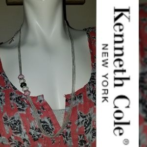 Kenneth Cole Long Multichain Necklace 925 Beads